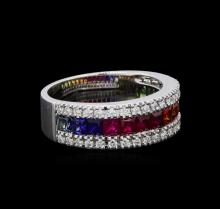 2.04 ctw Multi Color Sapphire and Diamond Ring - 14KT White Gold