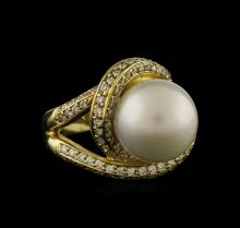 12.5mm Freshwater Pearl and Diamond Ring - 14KT Yellow Gold