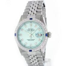Rolex Stainless Steel 1.00 ctw Diamond and Sapphire DateJust Men's Watch