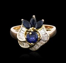 14KT Yellow Gold 1.00ctw Sapphire and Diamond Ring