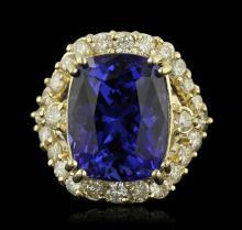 14KT Yellow Gold 14.67ct GIA Cert Tanzanite and Diamond Ring