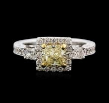 18KT White Gold 2.06ctw Fancy Yellow Diamond Ring