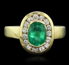 18KT Yellow Gold 1.19ct Emerald and Diamond Ring