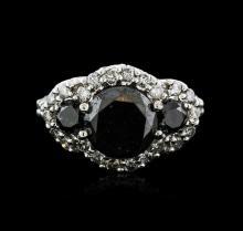14KT White Gold 6.17ctw Black Diamond Ring