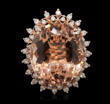 14KT Rose Gold 26.21ct GIA Certified Morganite and Diamond Ring
