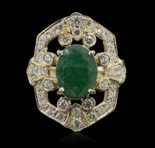 14KT Yellow Gold 2.77ct Emerald and Diamond Ring