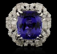 14KT White Gold GIA Certified 9.51ct Tanzanite and Diamond Ring