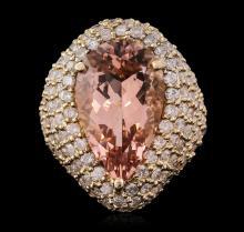 14KT Yellow Gold 10.83ct Morganite and Diamond Ring