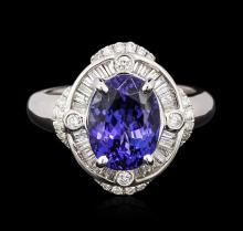 18KT White Gold 3.62ct Tanzanite and Diamond Ring