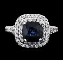 14KT White Gold 2.59ct Sapphire and Diamond Ring
