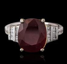 14KT Two-Tone Gold 6.28ct Ruby and Diamond Ring