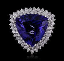 14KT White Gold GIA Certified 21.77ct Tanzanite and Diamond Ring