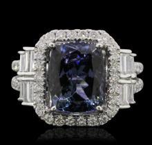 18KT White Gold 4.68ct Tanzanite and Diamond Ring