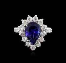 14KT White Gold 3.25ct Tanzanite and Diamond Ring