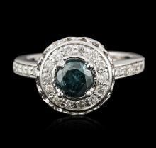 14KT White Gold 1.57ctw Blue Diamond Ring