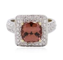 14KT Two-Tone Gold 2.19ct Morganite and Diamond Ring