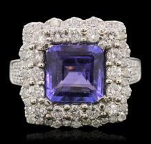 14KT White Gold 4.23ct Tanzanite and Diamond Ring
