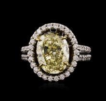 14KT White Gold 4.74ctw Fancy Yellow Diamond Ring