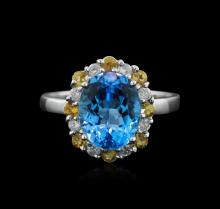 14KT White Gold 2.86ct Topaz, Citrine and Diamond Ring