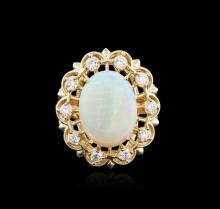 14KT Yellow Gold 3.37ct Opal and Diamond Ring