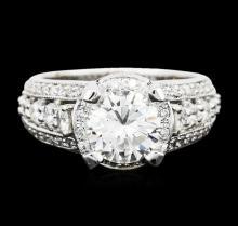 14KT White Gold EGL Certified 3.12ctw Diamond Ring