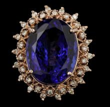 14KT Rose Gold 22.20ct GIA Cert Tanzanite and Diamond Ring