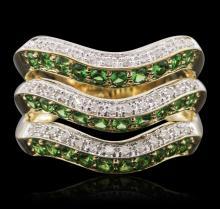 14KT Yellow Gold 1.50ctw Garnet and Diamond Ring