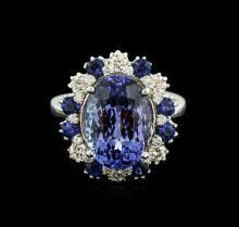 14KT White Gold 6.27ct Tanzanite, Sapphire and Diamond Ring