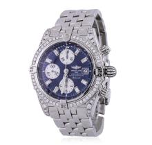 Gents Breitling Stainless Steel 2.20ctw Diamond Chronomat Evolution Wristwatch