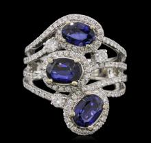 14KT White Gold 2.64ctw Sapphire and Diamond Ring