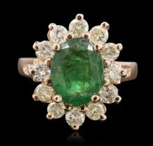 14KT Rose Gold 2.48ct Emerald and Diamond Ring