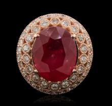 14KT Rose Gold 12.37ct Ruby and Diamond Ring