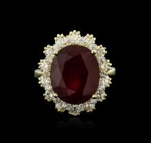 14KT Yellow Gold 9.47ct Ruby and Diamond Ring