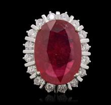 14KT White Gold 11.82ct Ruby and Diamond Ring