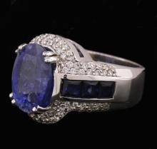 14KT White Gold GIA Certified 11.29ctw Sapphire and Diamond Ring