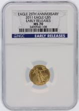 2011 NGC Graded MS70 Early Release $5 American Eagle Gold Coin