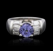 Platinum 1.63ct Tanzanite and Diamond Ring