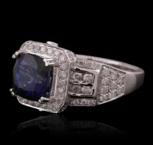 14KT White Gold 3.23ct Sapphire and Diamond Ring