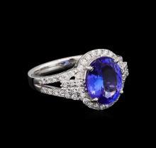 3.38ct Tanzanite and Diamond Ring - Platinum