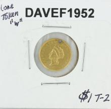 $1 T-2 Love Token W Liberty Head Gold Coin