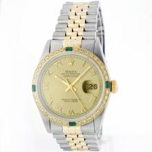 Rolex 14KT Two-Tone Diamond And Emerald DateJust Men's Watch
