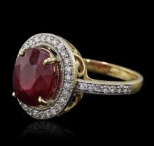 14KT Yellow Gold 4.98ct Ruby and Diamond Ring
