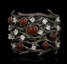 14KT White Gold Coral and Diamond Band