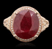 14KT Rose Gold 6.96ct Ruby and Diamond Ring