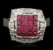 14KT White Gold 1.86ctw Ruby and Diamond Ring