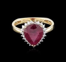 14KT Yellow Gold 3.09ct Ruby and Diamond Ring