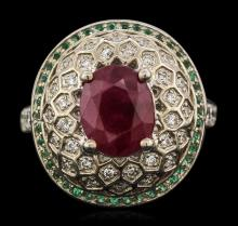 14KT White Gold 4.02ct Ruby, Emerald and Diamond Ring