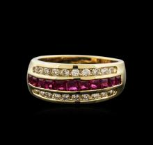 14KT Yellow Gold 1.00ctw Ruby and Diamond Ring