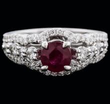 18KT White Gold 0.50ct Ruby and Diamond Ring