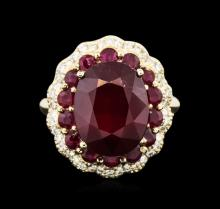 14KT Yellow Gold 10.13ctw Ruby and Diamond Ring